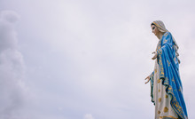 Blessed Virgin Mary Statue Of Catholic Church In Thailand.
