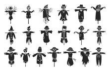 Garden Scarecrow Vector Black Set Icon.Isolated Set Black Icon Halloween Of Scare.Vector Collection Garden Scarecrow On White Background .