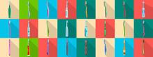 Toothbrush Flat Vector Illustration On White Background . Dental Brush Set Icon.Vector Illustration Toothbrush For Hygiene Oral.flat Set Icon Dental Brush.