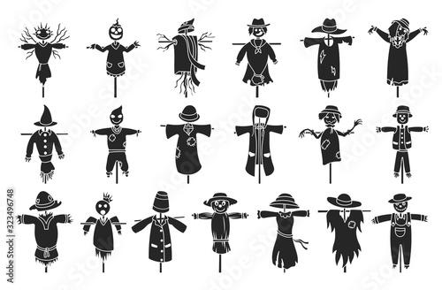 Fotografie, Obraz Garden scarecrow vector black set icon