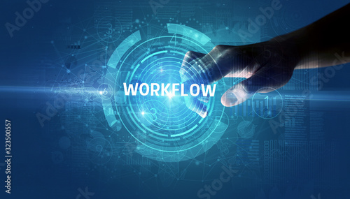 Hand touching WORKFLOW button, modern business technology concept