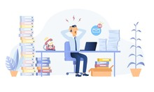 Stressed Businessman Throwing A Tantrum In The Office Holding His Hands To His Head Shouting While Seated At A Desk Surrounded By Files, Vector Illustration
