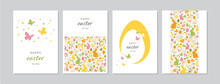 Easter Cards Set With Hand Drawn Rabbits, Eggs, Butterflies, Flowers And Dots. Doodles And Sketches Vector Vintage Illustrations, DIN A6