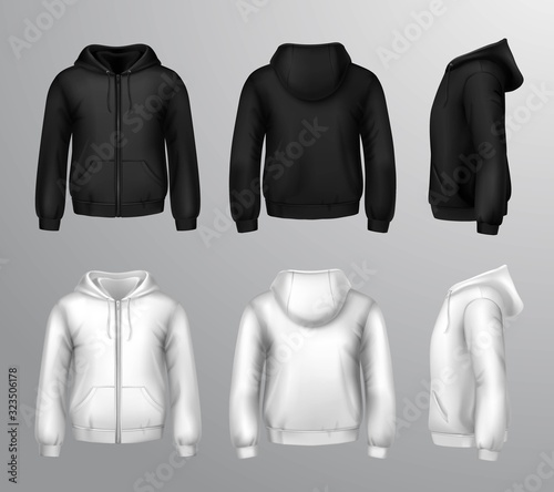 Fotomural Black And White Male Hooded Sweatshirts