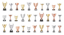 Trophies Collection Isolated On White Background