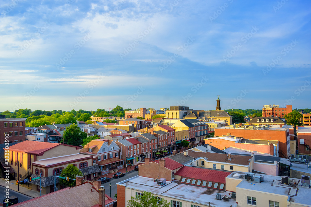 Fototapeta panorama of suburban area and aerial view with sunny blue sky in Summer West Chester , USA