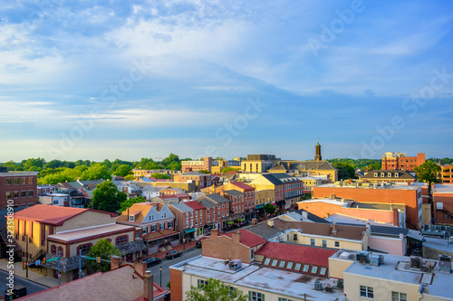 Fototapeta panorama of suburban area and aerial view with sunny blue sky in Summer West Chester , USA obraz