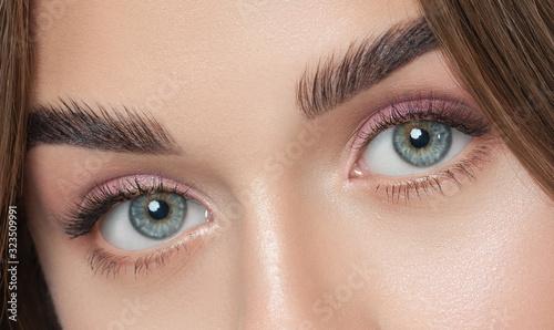 Beautiful woman with long eyelashes, beautiful make-up and thick eyebrows Fototapeta