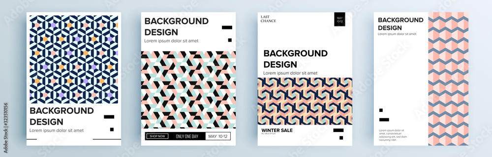 Fototapeta Modern abstract covers set, minimal covers design. Colorful geometric background, vector illustration.