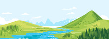 Green Mountains In Sunny Day With River In Valley And Spruce Forest In Simple Geometric Form, Nature Tourism Landscape Background, Travel Mountains Adventure Illustration