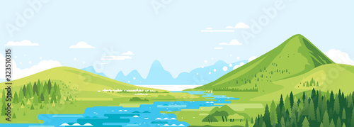 Green mountains in sunny day with river in valley and spruce forest in simple geometric form, nature tourism landscape background, travel mountains adventure illustration © Oceloti