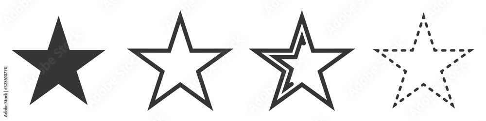 Fototapeta Star vector icons. Set of star symbols isolated.