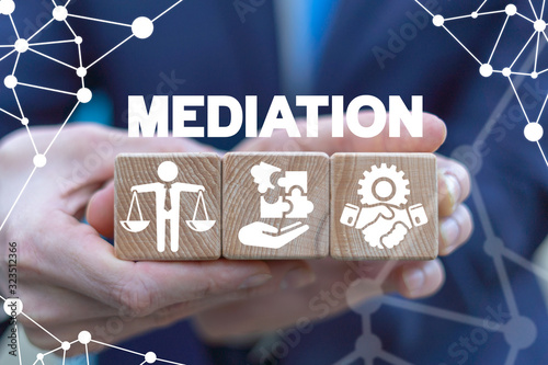 Mediation Negotiation Arbitration Concept. Business Mediate. Wallpaper Mural