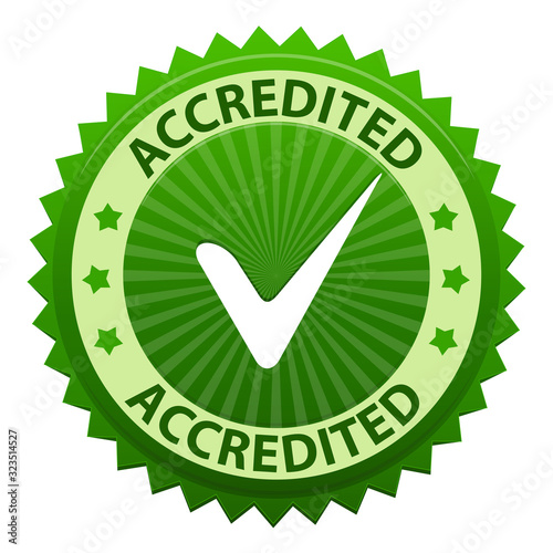 Photo Accredited green label with tick icon