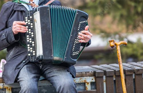 harmonist sits on a bench Fototapet