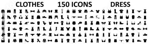 Fototapeta Clothes 150 icon set. Woman and man clothes and accessories collection, fashion wardrobe, dress isolated silhouettes of men and women clothing – stock vector obraz