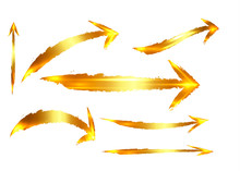 Set Of Different Gold Grunge B...
