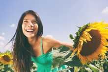 Spring Flower Field Nature Woman Happy Allergy-free Breathing Clean Air In Summer Sunshine. Pollen Allergies Concept. Asian Smiling Girl Portrait. Outdoors Lifestyle Happiness.