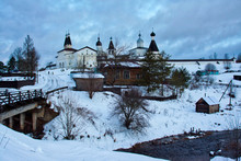Winter Early Morning View Of Ferapontov Monastery In Vologda Region, Russia