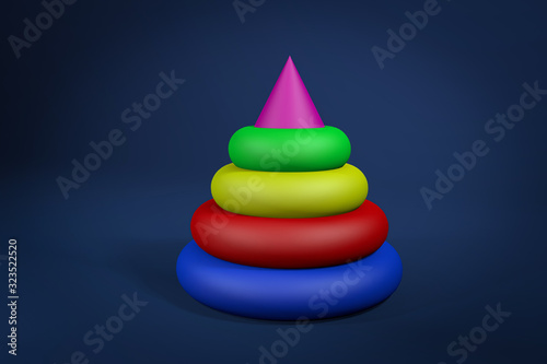 Colorful pyramid toy for babies 3d rendering