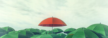 Red Umbrella Standing Out Among Other Greens