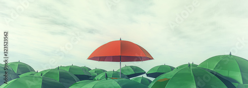 Fototapeta red umbrella standing out among other greens obraz
