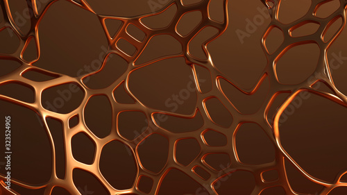 Abstract generative form made of metal. 3d illustration, 3d rendering. - 323524905
