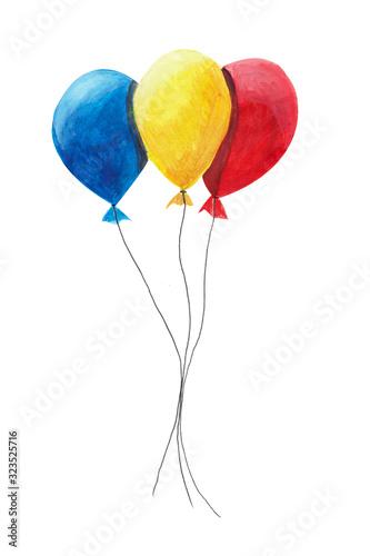 balony-czerwony-zolty-i-niebieski-na-bialym-tle