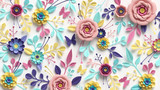 3d render, horizontal floral pattern. Abstract cut paper flowers isolated on white, botanical background. Rose, daisy, dahlia, butterfly, leaves in pastel colors. Modern decorative handmade design