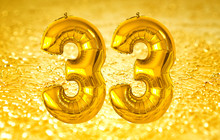 Happy 33 (thirty Three) Number On A Golden Background