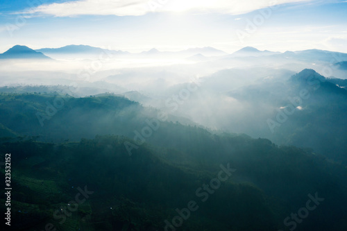 Aerial view of sunrise with tea plantation and fog