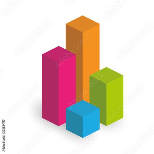 Valokuvatapetti Bar chart of 4 columns. 3D isometric colorful vector graph
