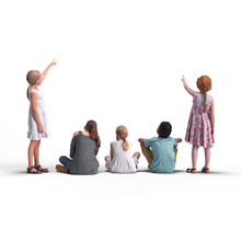 Back View Of Standing Children. Illustration On White Background, 3d Rendering Isolated.