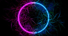 3d Render. Neon Hoop Or Circle In The Thickets Of Grass. Nature In Vibrant Neon Colors.