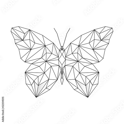 Polygonal geometric outline illustration of butterdly isolated on white background. Contour for tattoo, logo, emblem and design element. Hand drawn sketch of a butterfly