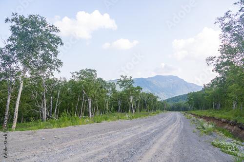 Fototapeta Road among the hills, Kamchatka Peninsula, Russia. obraz na płótnie
