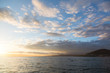 Golden sunset in the sky over the Avacha Bay, Kamchatka Peninsula, Russia.