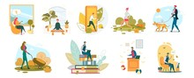 People Lifestyle Flat Vector Illustrations Set