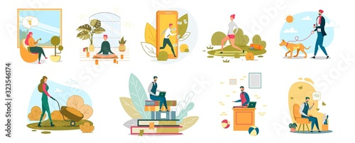 Cuadros en Lienzo People Lifestyle Flat Vector Illustrations Set