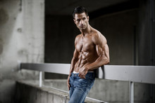 Handsome Shirtless Muscular Me...
