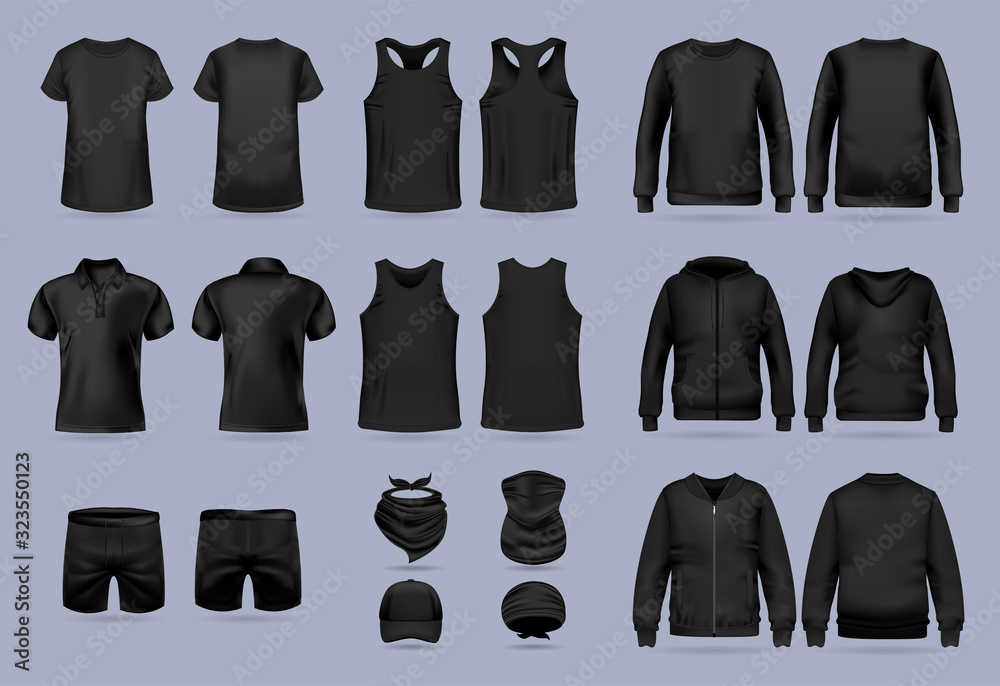 Fototapeta Blank black collection of men's clothing templates. T-shirt, hoodie, sweatshirt, short sleeve polo shirt, jacket bomber, head bandanas and cap, tank top, neck scarf and buff. Realistic vector mock up
