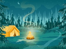 Camping With Tent And Campfire...