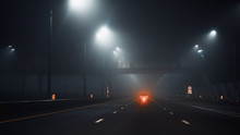 Night Road With Car In Huge Fo...