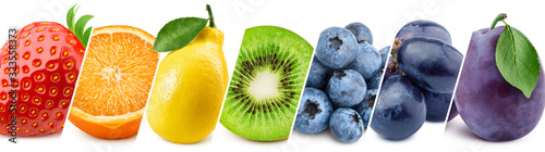 Collage of fresh color fruits, healthy food concept - 323558373