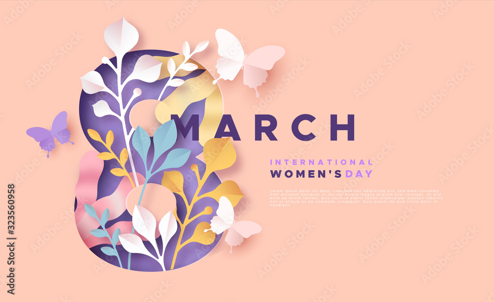 Fototapeta Women's day 8 march pink papercut spring card