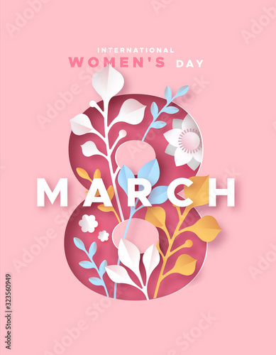 Women's day 8 march pink papercut nature card