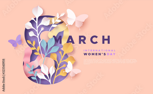 Women's day 8 march pink papercut spring card - 323560958