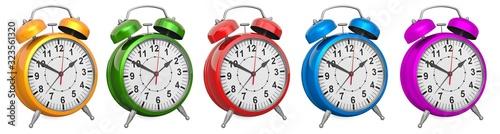 Colored alarm clocks, closeup. 3D rendering Canvas Print