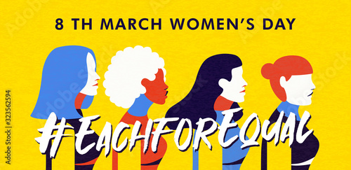 Women's Day 8 march banner of diverse woman group - 323562594