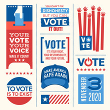 Patriotic Design Elements And Motivational Messages To Encourage Voting In United States 2020 Election. For Web Banners, Cards, Posters, Stickers
